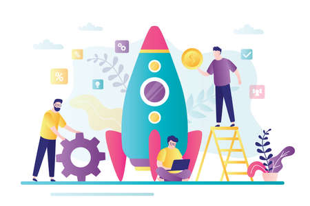 Startup development concept. Group of business people create new business. Investing in new company. Rocket getting ready to launch. Teamwork and brainstorming. Trendy style vector illustration