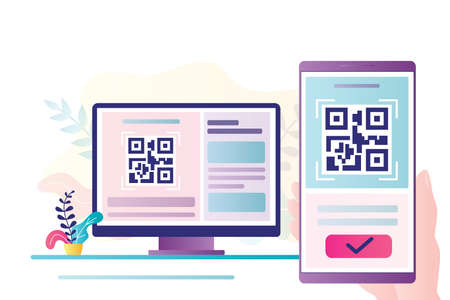 QR Code scanning concept. Hand holding smartphone and scan code. Mobile technology for internet payment. Suitable for web landing page, ui, mobile app, banner template. Trendy flat vector Illustration