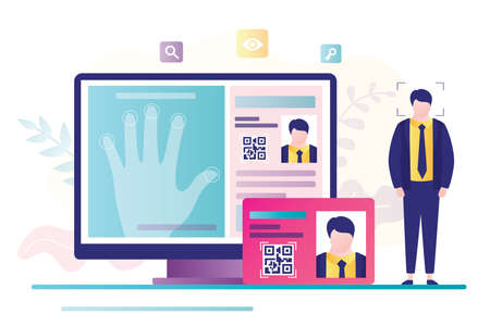 Ð¡oncept of access control, fingerprint scanner. Online passport and biometric identifier. Personal data and fingerprints on computer screen. Protection of personal information.Flat vector illustration