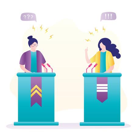 Debate, two woman speakers. Political speeches, debates, rhetoric. Female politicians speak emotionally. People on podium speak into microphones. Election campaign banner. Trendy vector illustration