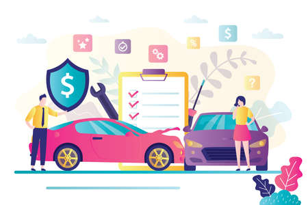Car insurance concept. Automobile protection and safety assurance. Cars damage, safety from disaster. Salesman agent sells vehicle collision insurance to woman driver. Trendy flat vector illustration