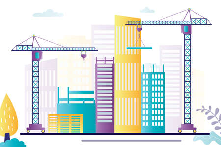 Building work process with unfinished houses and machines. Construction highrise home or condo house with modern cranes. Large construction equipment. Banner in trendy style. Flat vector illustration