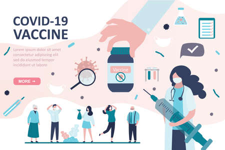 Group of various people in protective masks. Big hand give vaccine. Health care landing page template. Woman doctor warns of vaccination against coronavirus. Covid-19 prevention. Vector illustration