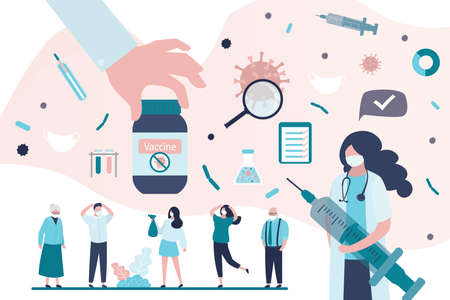 Big hand give vaccine. Group of various people in protective masks. Health care concept. Doctor holds syringe and warns of vaccination against coronavirus. Covid-19 prevention. Vector illustration