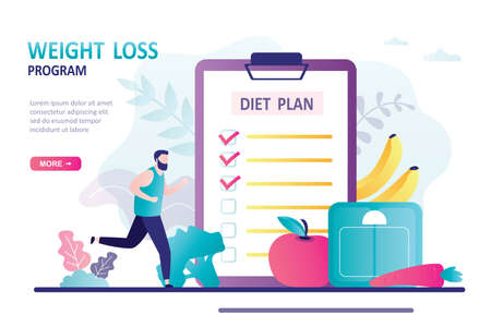 Jogging man and eats according to plan. Concept of healthy food, diet and weight loss program. Male character planning meals. Landing page template. Trendy flat vector illustration