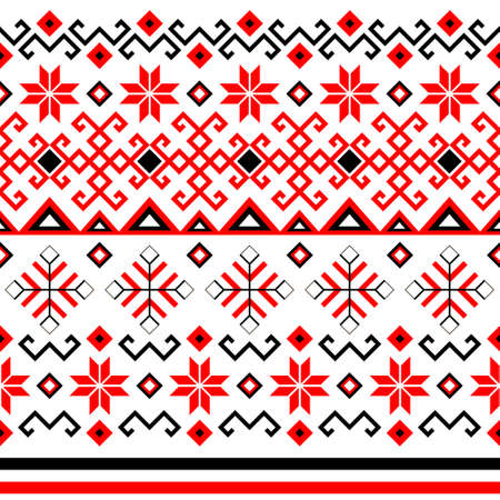 Bulgarian balkan national folklore embroidery style red, white and black ornamental seamless vector pattern Ilustração