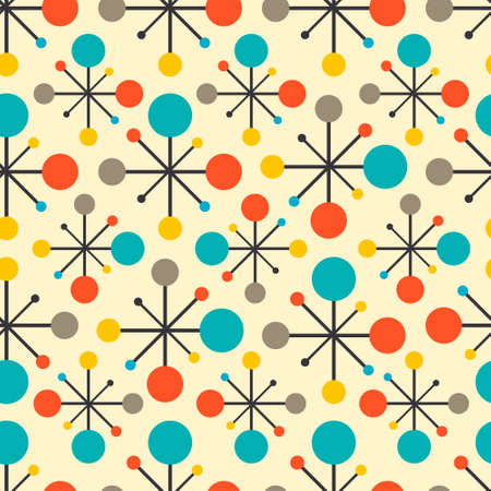 Mid century fifties modern atomic retro colors seamless vector pattern. Part of collection