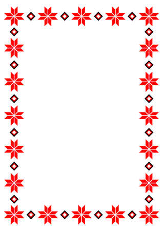 Bulgarian balkan national folklore embroidery style red, white and black ornamental border vector frame