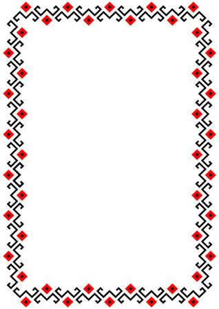 Bulgarian balkan national folklore embroidery style red, white and black ornamental border vector frame Vektorové ilustrace