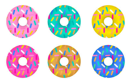 Donuts with colorful glaze and sprinkles. Vector hand drawn illustration set