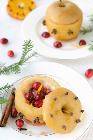 Baked apple stuffed with cranberries. Stock Photo