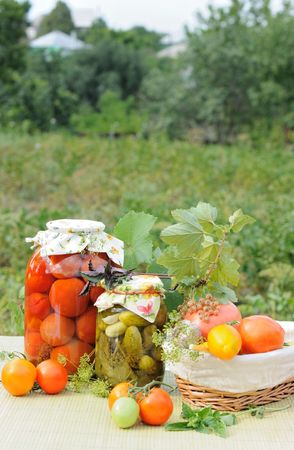 Homemade preserves with a garden at background
