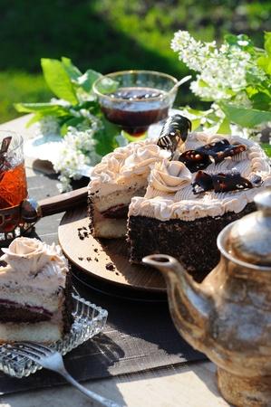 Coffee сake in an outdoor setting. photo