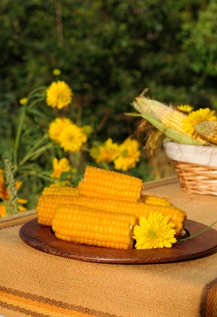 Wooden plate with boiled corn. photo
