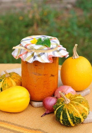 Vegetable puree made of squash, carrot and other vegetables. Stock Photo