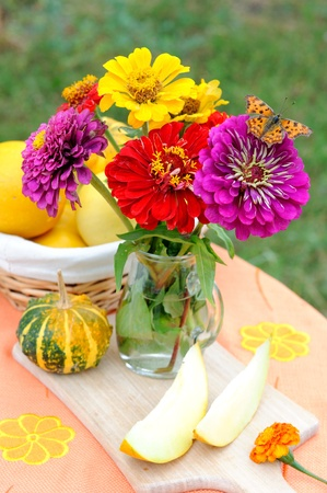 Still life with autumn flowers and a butterfly.  photo
