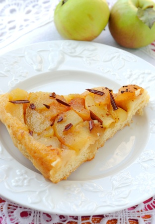 Apple pie with caramel and cinnamon. Stock Photo