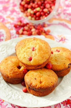 Ð¡ranberry muffins with a bowl of cranberries at the background.