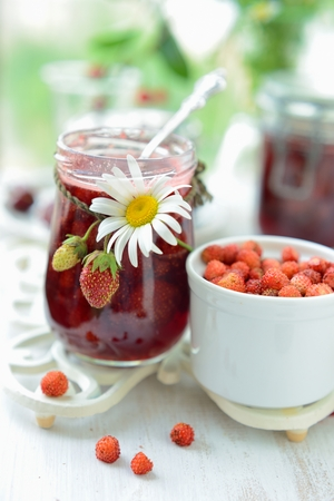 wild strawberry: Just brewed jam made from wild strawberry and strawberry Stock Photo