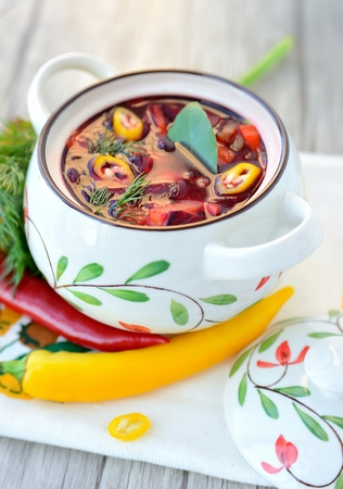 Red soup borscht - Russian and Ukrainian ethnic food. Stock Photo