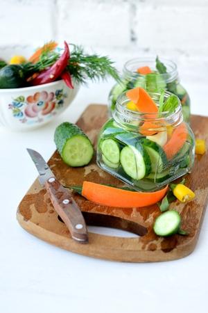 Making pickling cucumbers Stock Photo