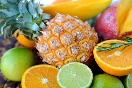 Still Life with Tropical Fruits Stock Photo