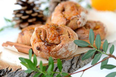 Homemade rye flour orange buns Stock Photo