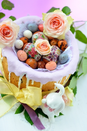Easter cake with icing and easter eggs