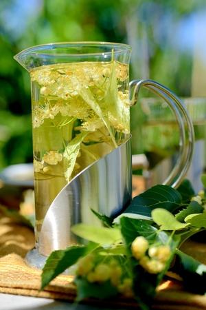 Herbal tea with linden flowers.