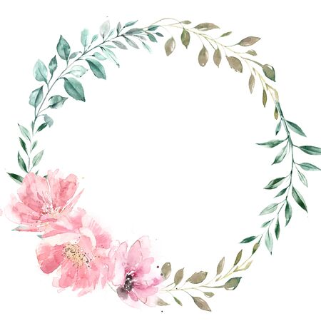 Wreath of green leaves and pink flowers Stock Photo