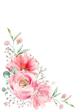 A bouquet of beautiful pink flowers for the design of wedding invitations, cards for Mothers Day, posters. Banco de Imagens