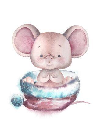 Watercolor little mouse - symbol of 2020 illustration. Vintage illustration.