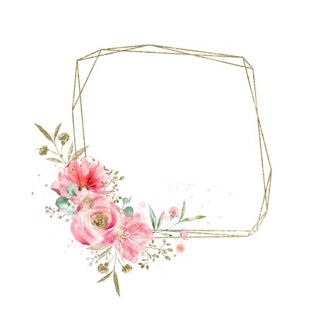 Abstract geometry gold glitter frame and watercolor flowers