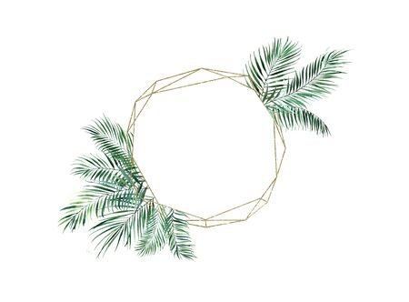Golden round frame with palm leaves. Watercolor illustration on a white background.