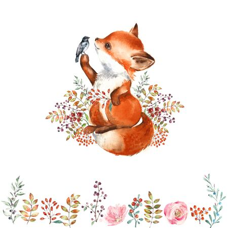 Watercolor illustration of a cute fox and little bird. Border of forest leaves and berries. Autumn composition.