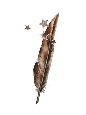 Feather color metal bronze. Complemented by the stars of old rust. Vintage style. Retro postcard, logo, poster or wall. Stock Photo