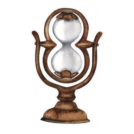 Vintage illustration hourglass old rusty bronze metal. Watercolor. Antique.