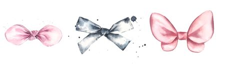 Set of watercolor illustrations of cute textile bow headband for little girl. Create logo designs or prints for girls.