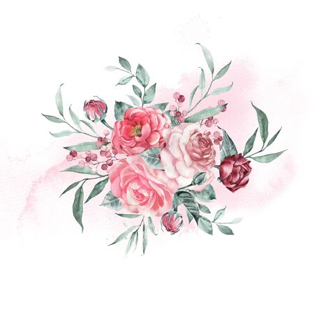 Beautiful bouquet, garden roses and peonies composition. Vintage watercolor. Foto de archivo