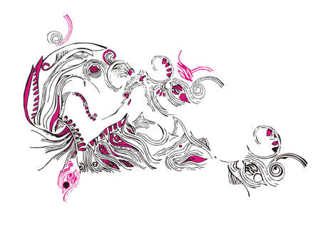fluent: composition from fluent line on white background Illustration