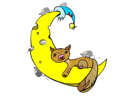 ginger cat sleeping on the moon on a white background Vector