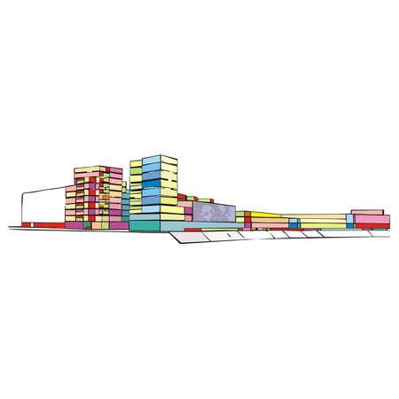 ensemble: colorful urban ensemble on the waterfront on a white background