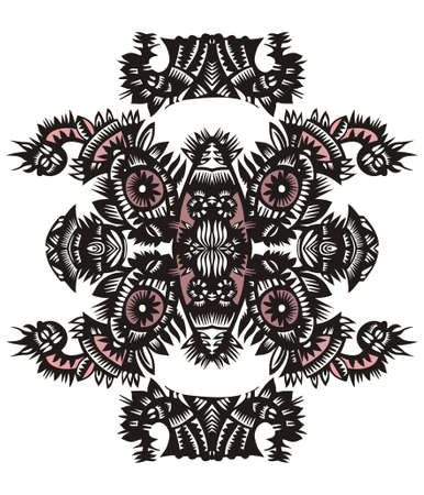 vertical decorative pattern with flowers on a white background Vector