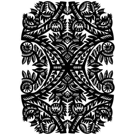 black decorative patternwith flowers on awhite background Vector