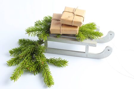 Christmas sleigh with gifts. New Years minimal concept Stok Fotoğraf