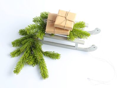 Christmas sleigh with gifts. New Years concept