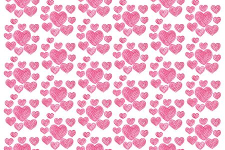 repeating pattern of red hearts on a white background. color pencil. Stock Photo