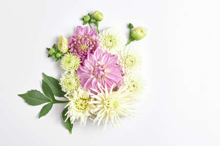floral composition. fresh large purple Dahlia flowers on a light background. wedding design, space for text, top view. 免版税图像