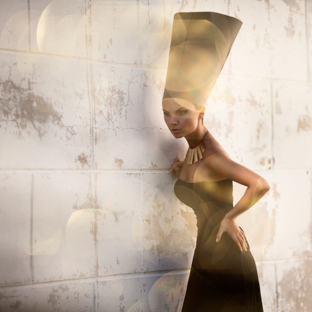 Nefertiti, Queen of Egypt. Stylized fashion shoot. Outdoors shot photo