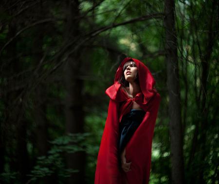 赤いマントで美しい暗い髪の女の子は野生の森林で失われました。少し赤い乗馬フードの話。おとぎ話そして伝説。追加された穀物